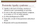 poststroke apathy syndrome robinson 1997