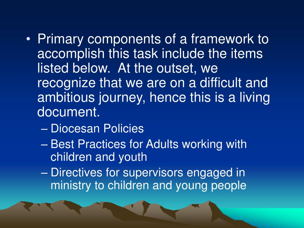 Primary components of a framework to accomplish this task include the items listed below.  At the outset, we recognize that we are on a difficult and ambitious journey, hence this is a living document.