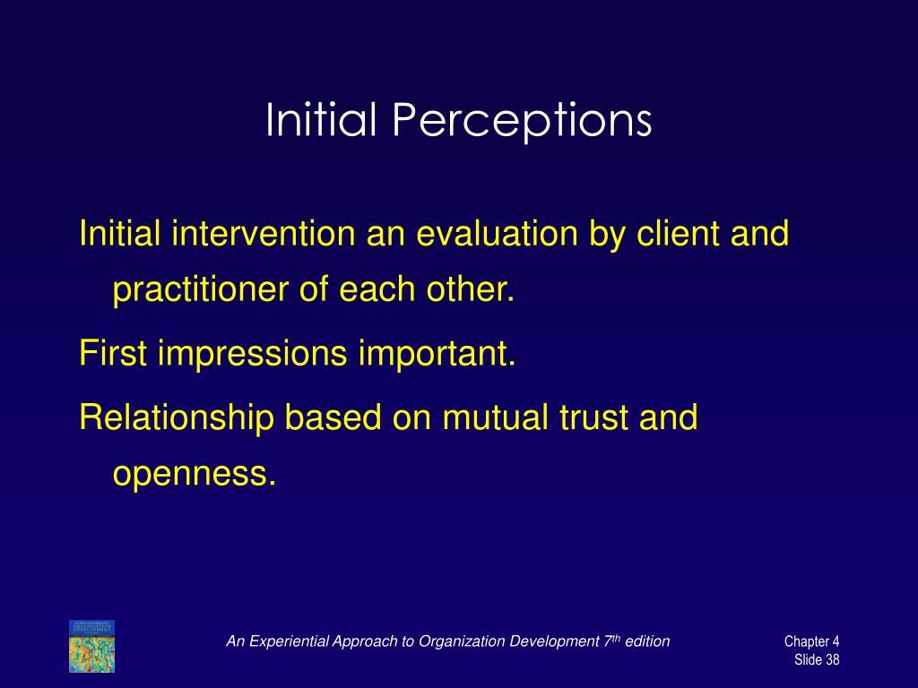 Initial Perceptions