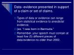 data evidence presented in support of a claim or set of claims