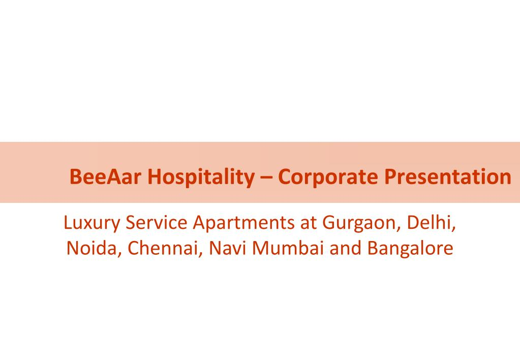 BeeAar Hospitality – Corporate Presentation