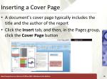 inserting a cover page