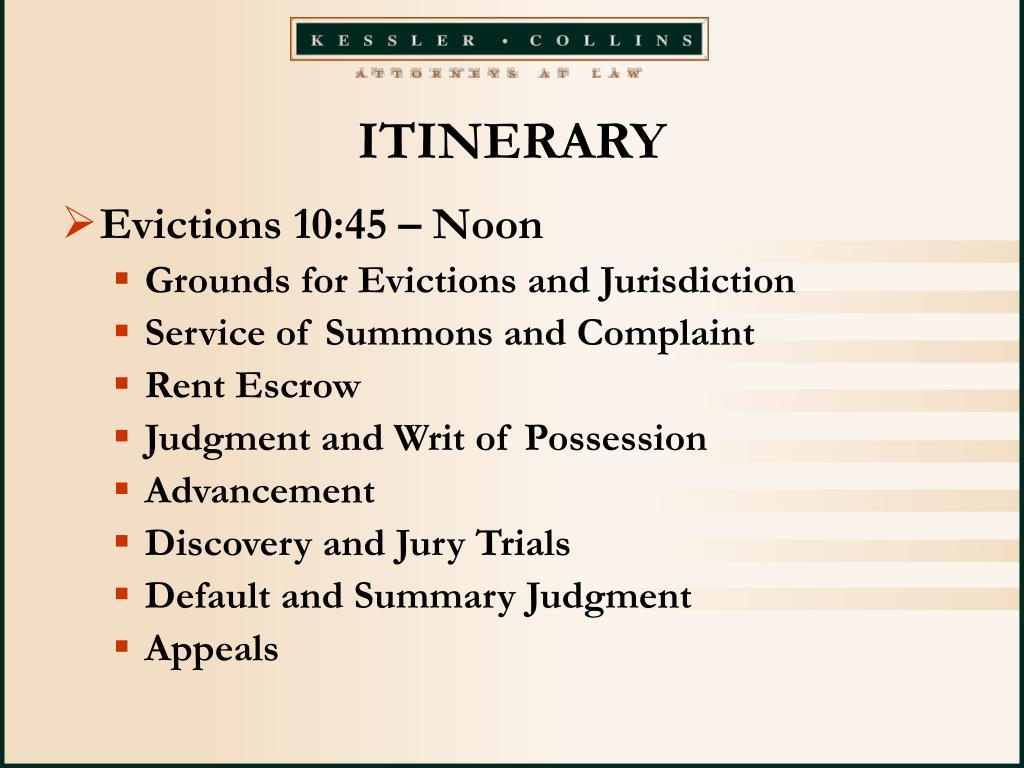 ITINERARY