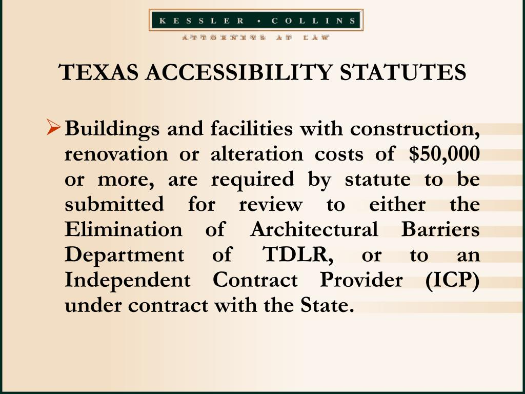 TEXAS ACCESSIBILITY STATUTES