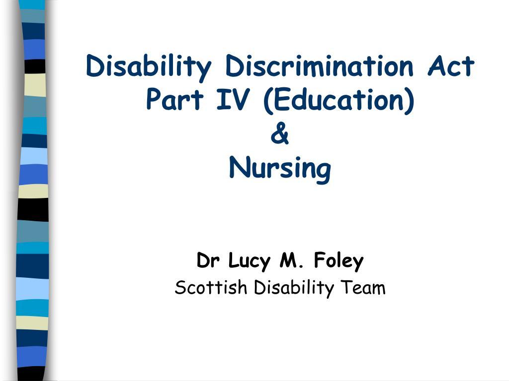 disability discrimination act part iv education nursing l.