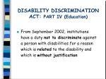 disability discrimination act part iv education