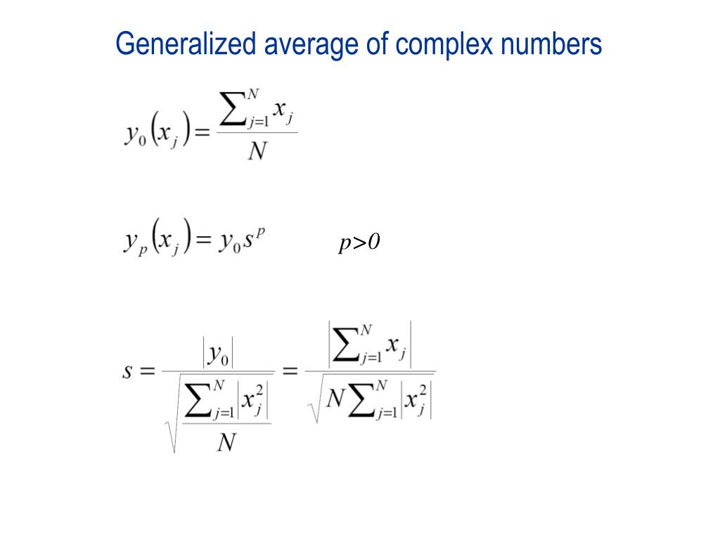 Generalized average of complex numbers