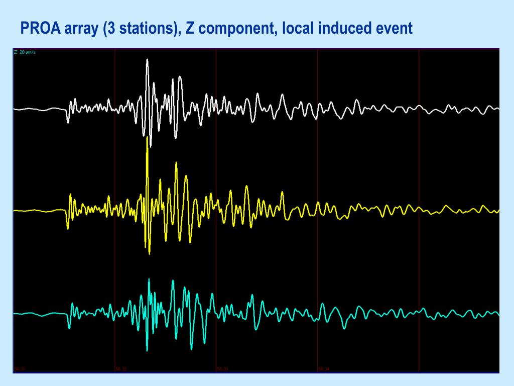 PROA array (3 stations), Z component, local induced event