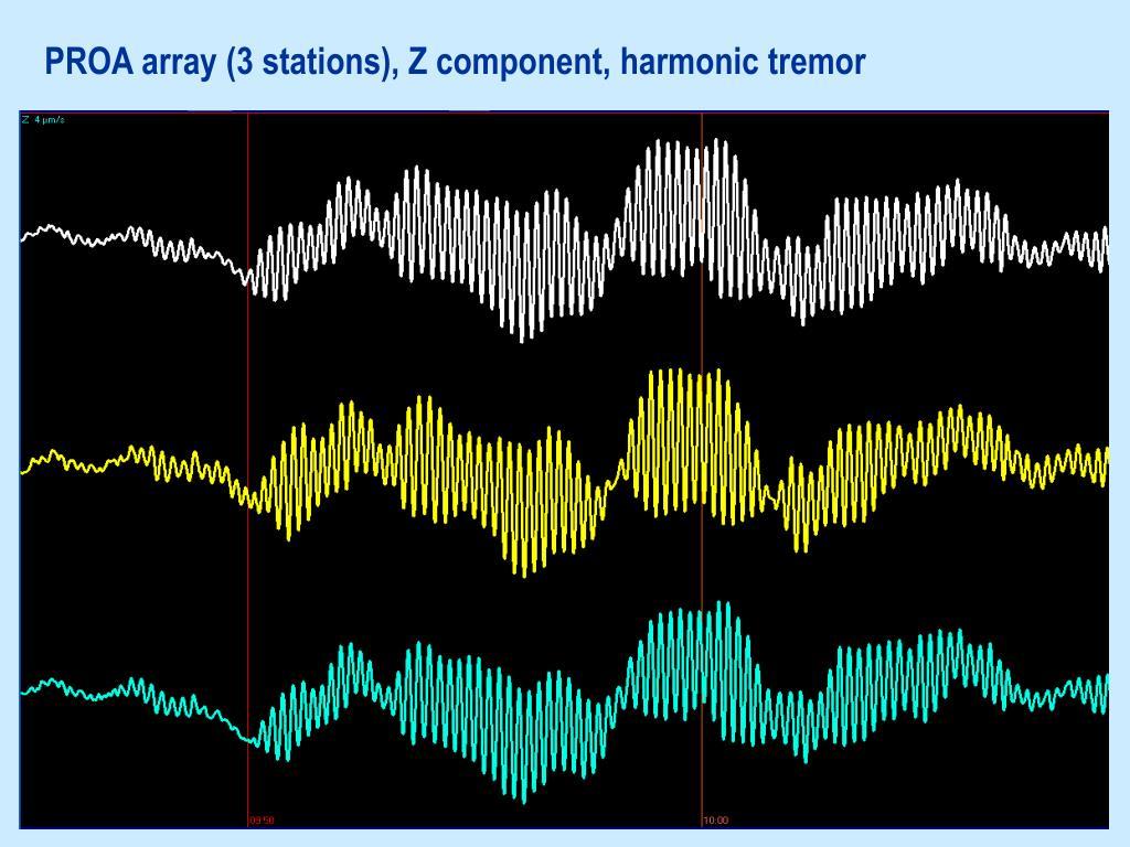 PROA array (3 stations), Z component, harmonic tremor