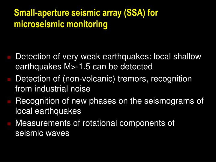 Small aperture seismic array ssa for microseismic monitoring
