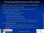 computing environment and security