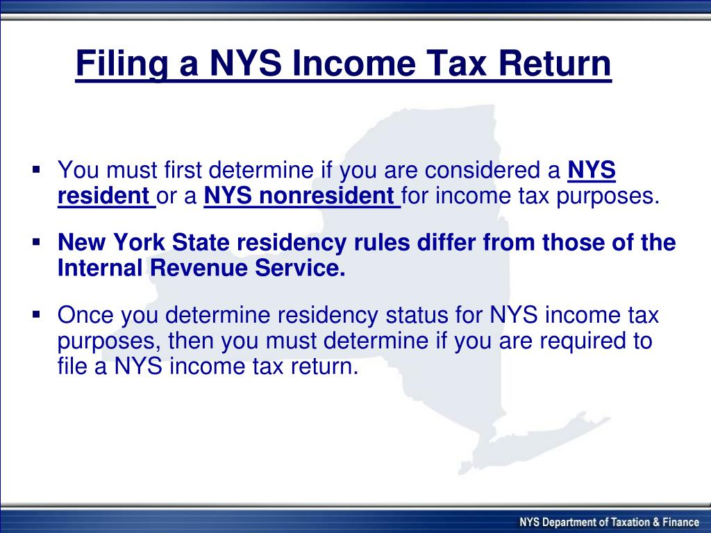 Filing a NYS Income Tax Return
