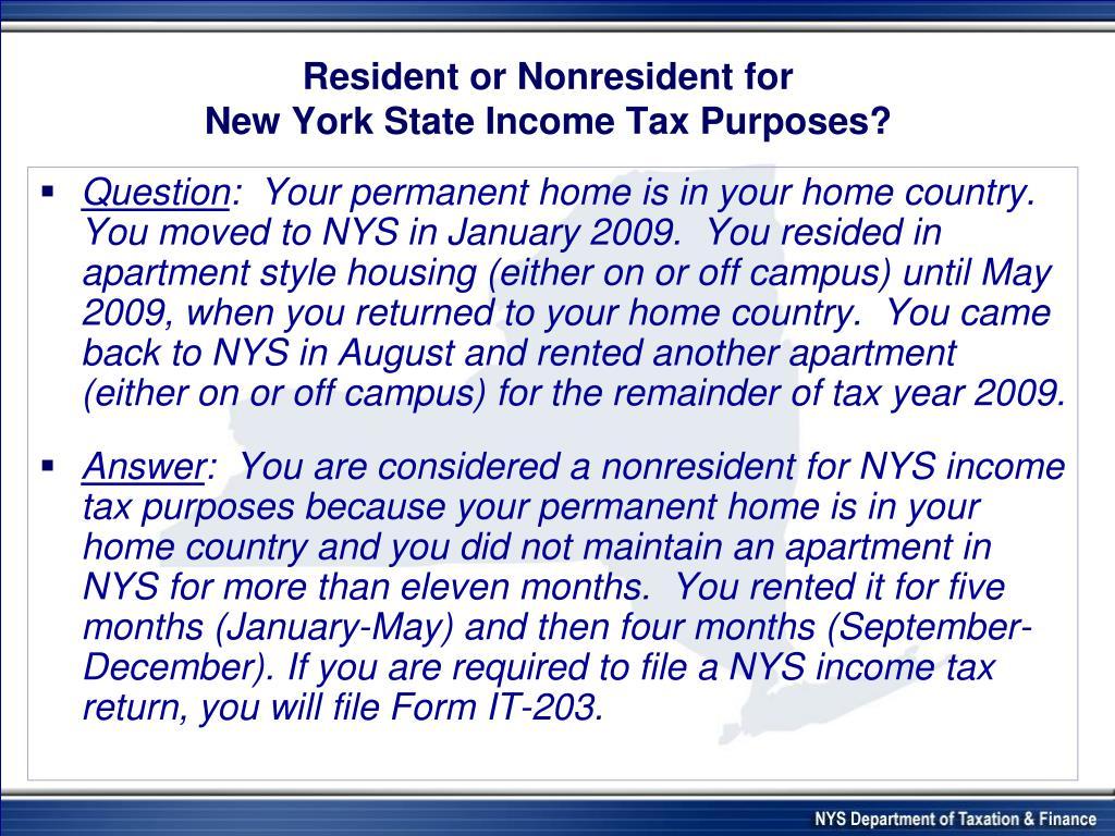 Resident or Nonresident for