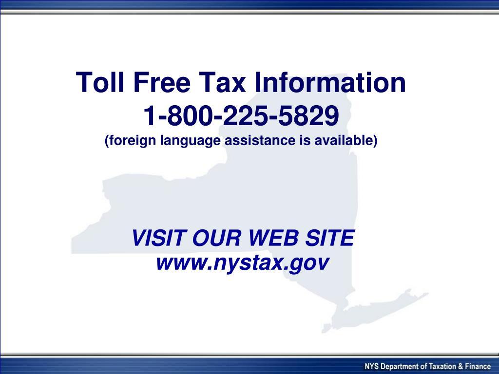 Toll Free Tax Information