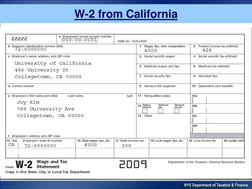 W-2 from California