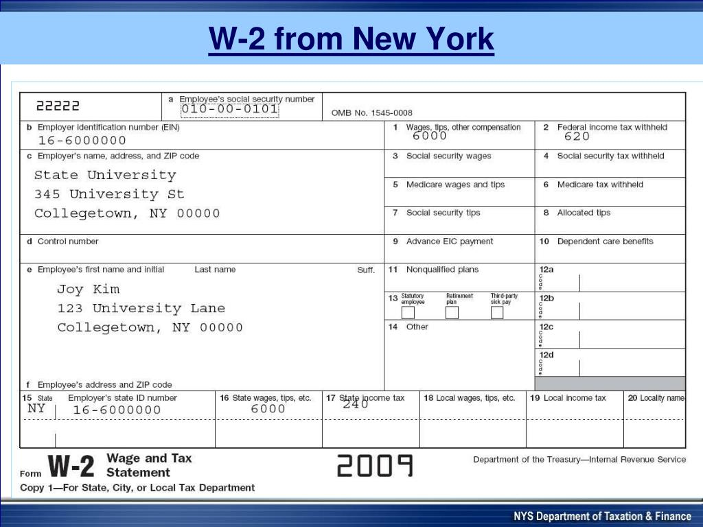 W-2 from New York
