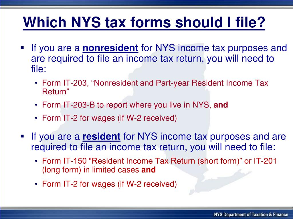 Which NYS tax forms should I file?