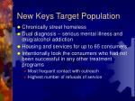 new keys target population