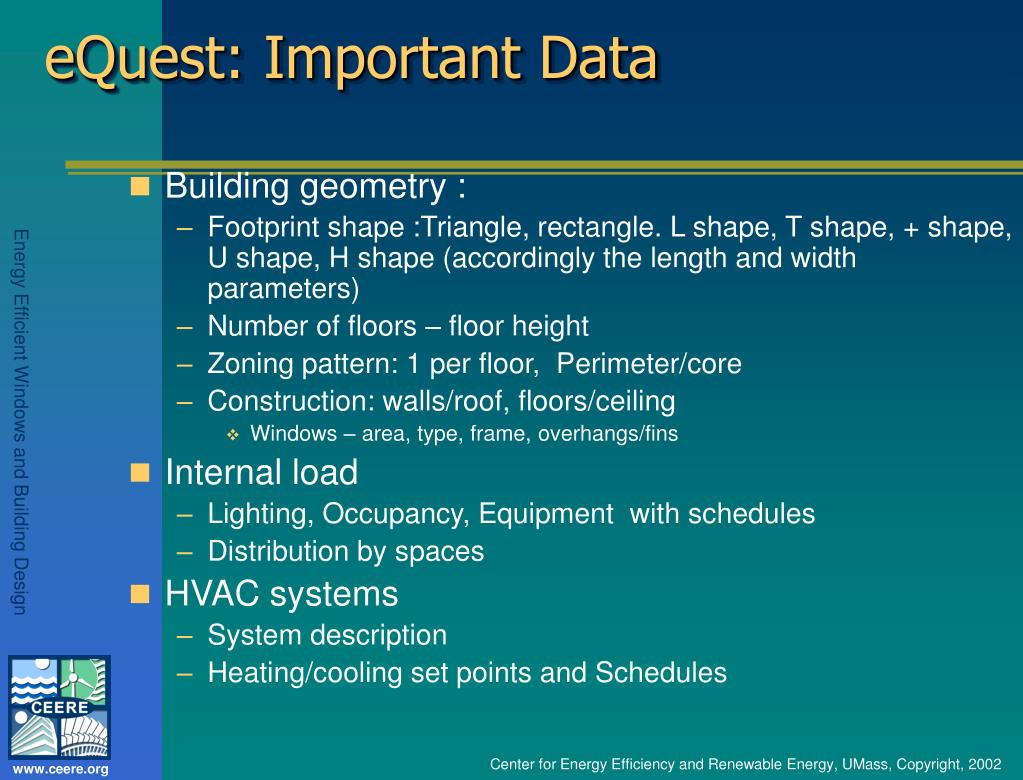 eQuest: Important Data