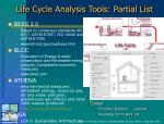 life cycle analysis tools partial list
