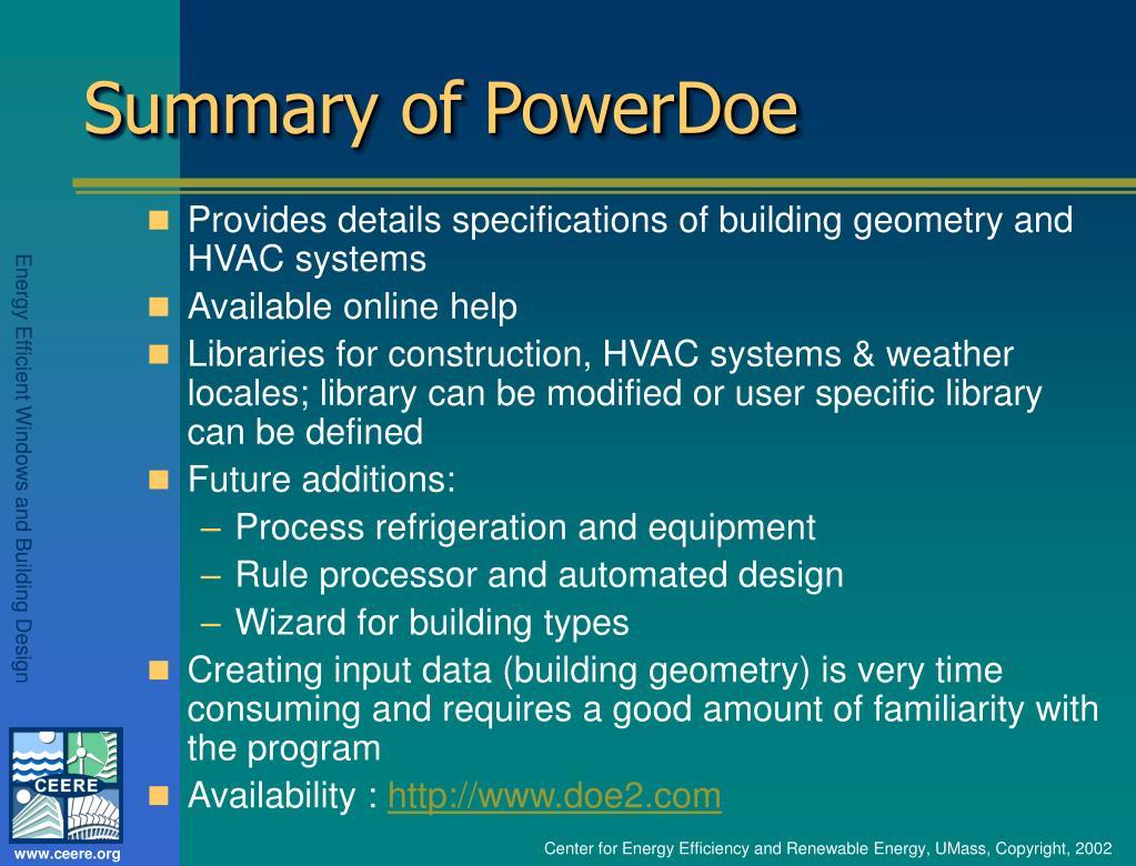 Summary of PowerDoe