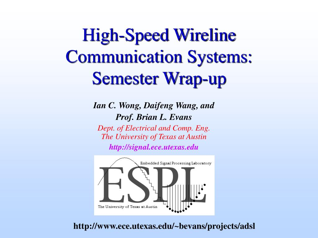 high speed wireline communication systems semester wrap up l.