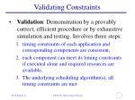 validating constraints