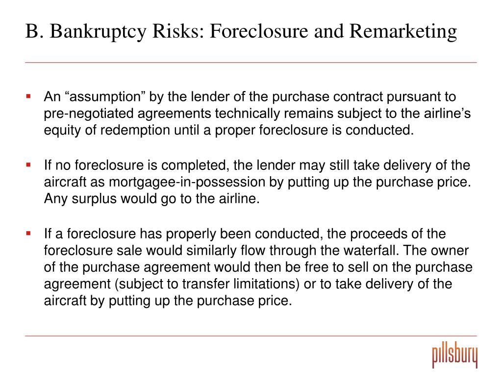B. Bankruptcy Risks: Foreclosure and Remarketing