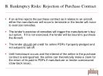 b bankruptcy risks rejection of purchase contract