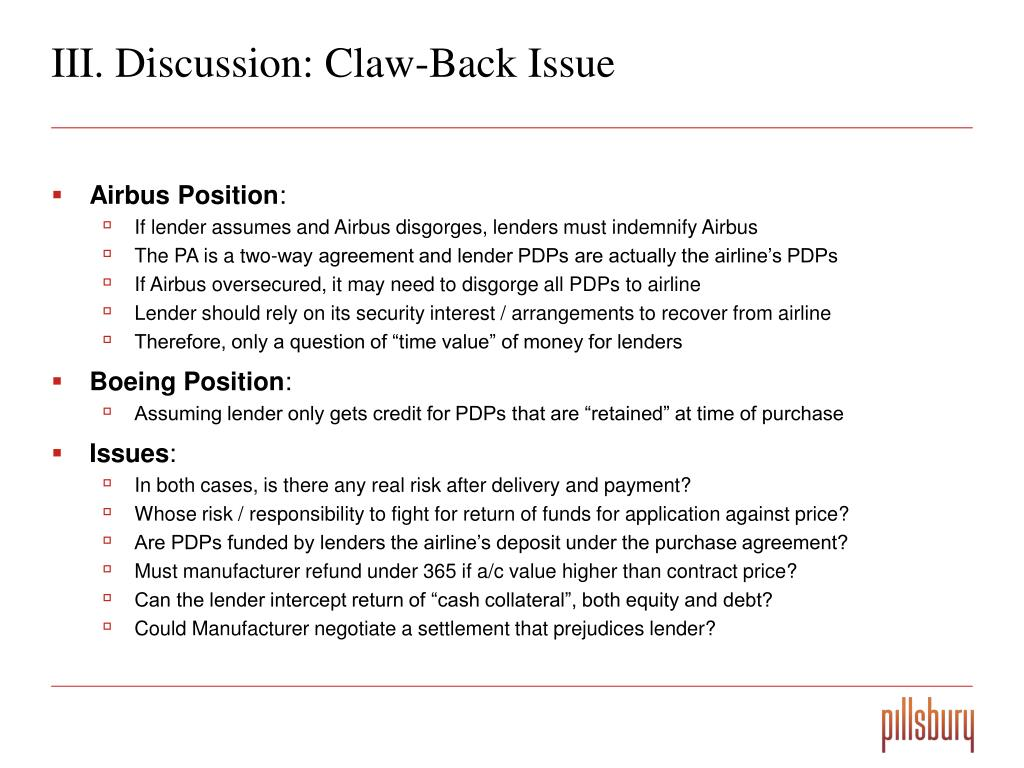 III. Discussion: Claw-Back Issue