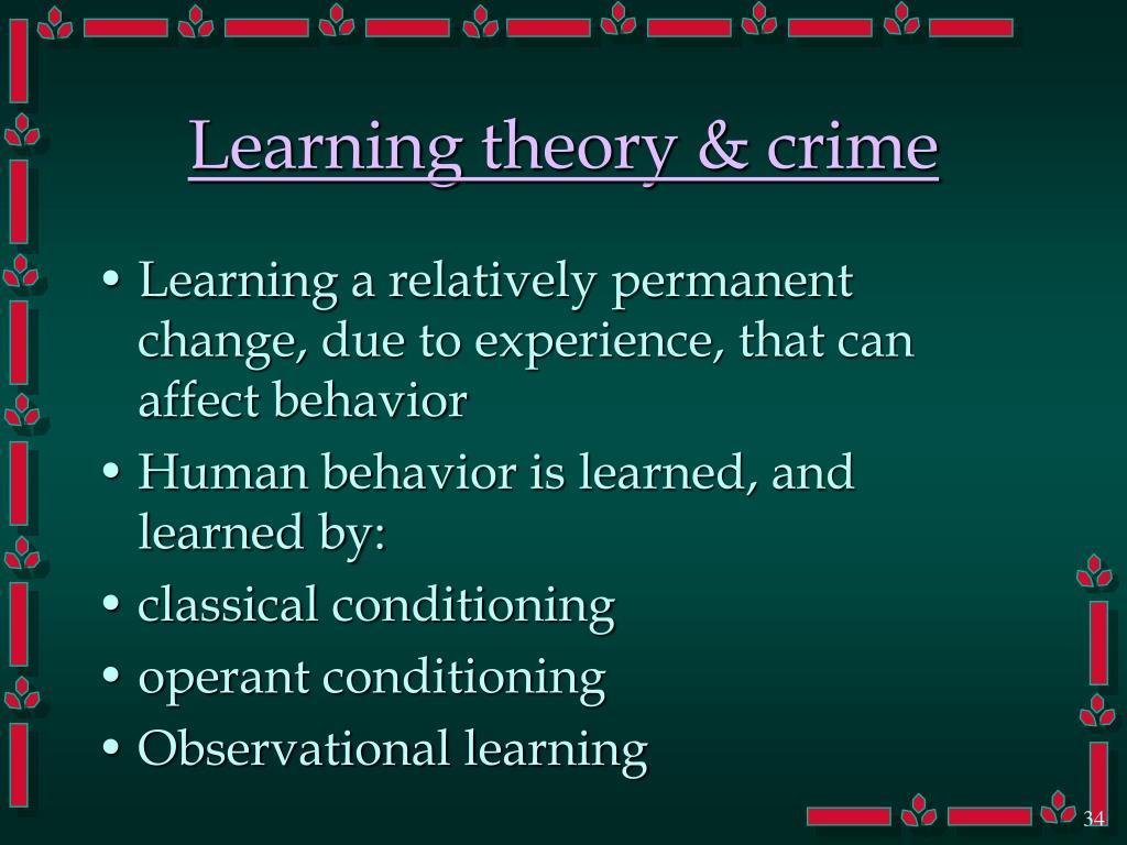 Learning theory & crime
