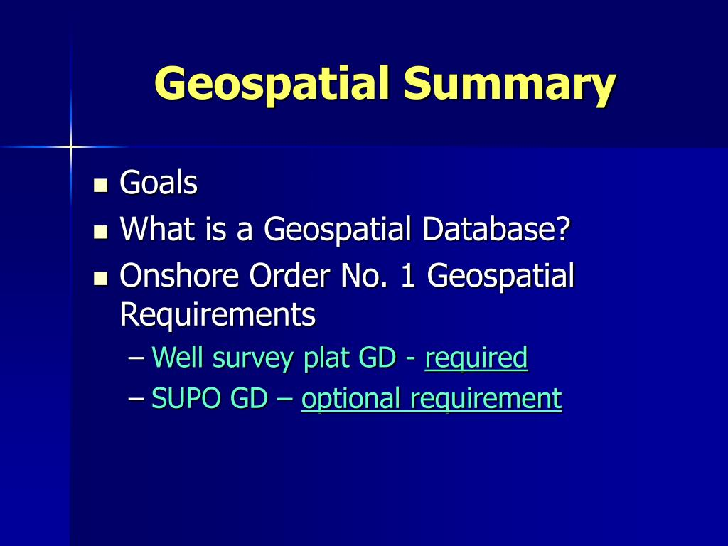Geospatial Summary