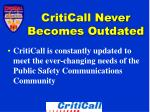 criticall never becomes outdated