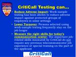 criticall testing can