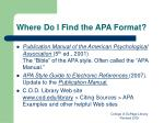 where do i find the apa format