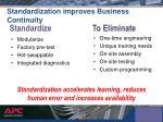 standardization improves business continuity