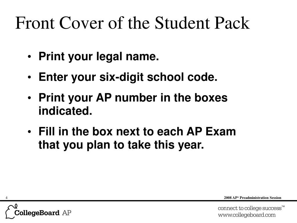 Front Cover of the Student Pack