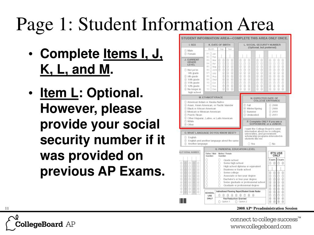 Page 1: Student Information Area