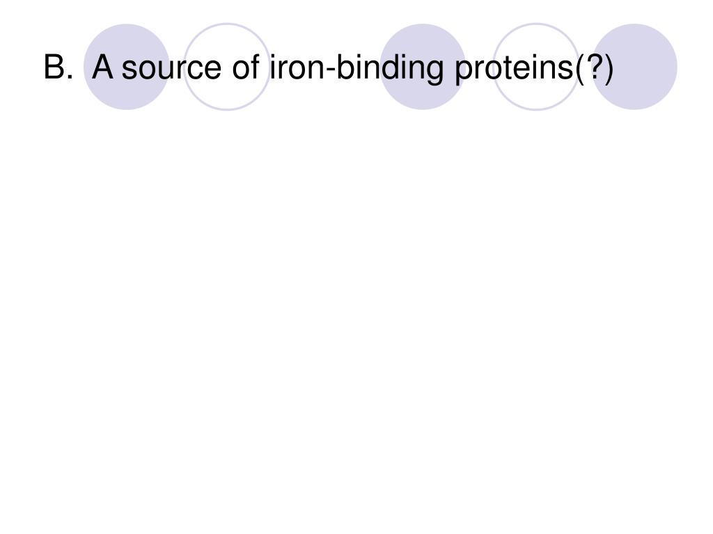 B.  A source of iron-binding proteins(?)