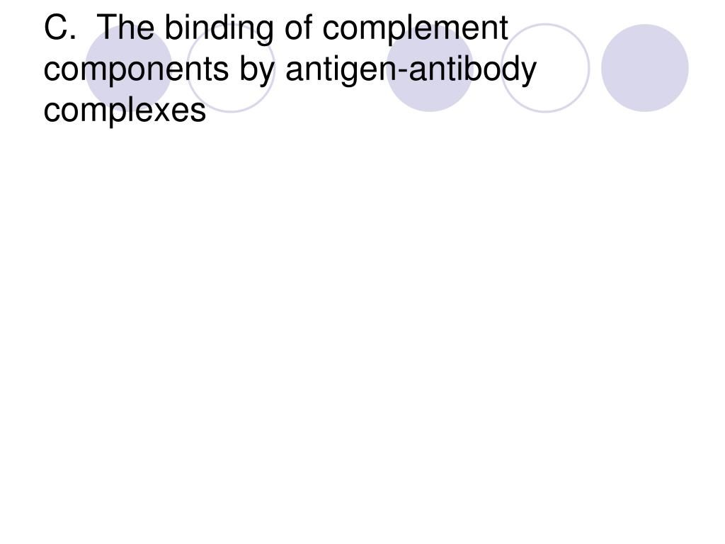 C.  The binding of complement components by antigen-antibody complexes