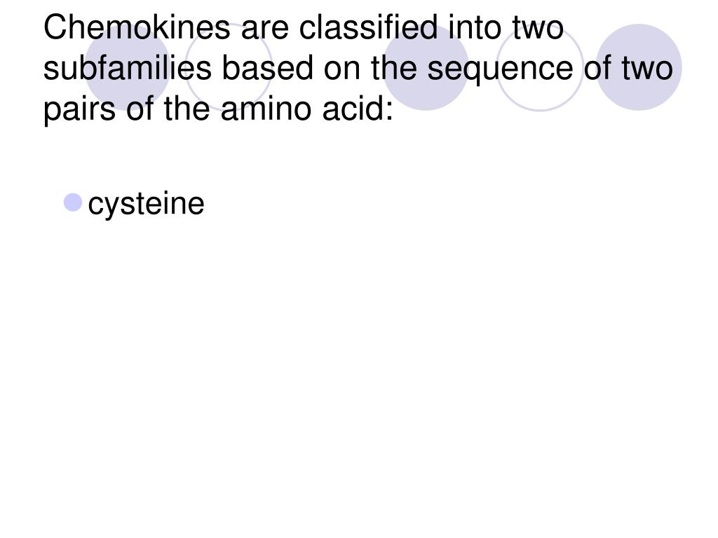 Chemokines are classified into two subfamilies based on the sequence of two pairs of the amino acid: