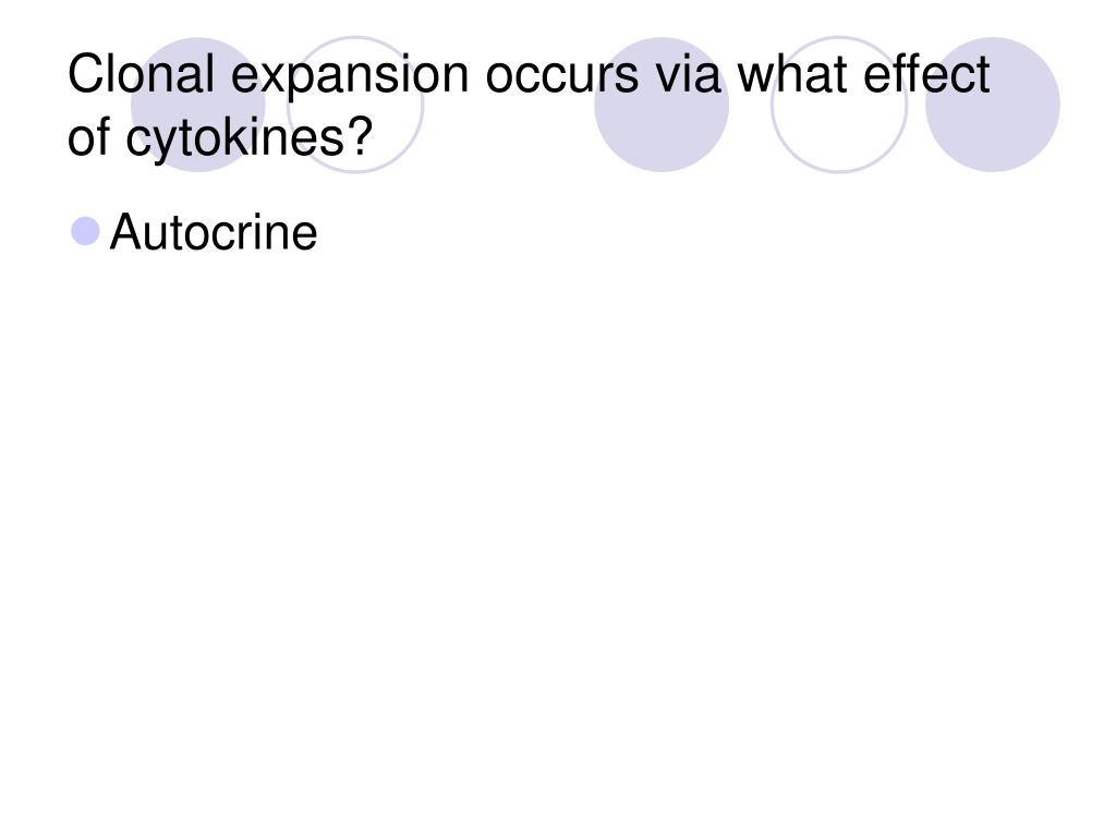 Clonal expansion occurs via what effect of cytokines?