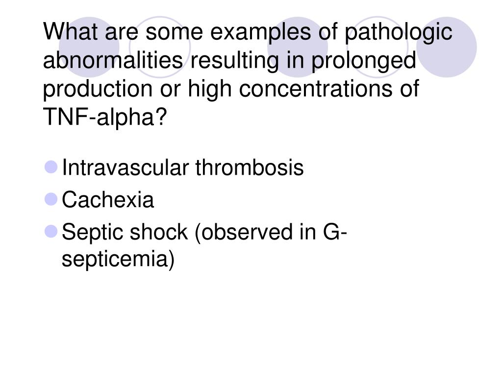 What are some examples of pathologic abnormalities resulting in prolonged production or high concentrations of TNF-alpha?