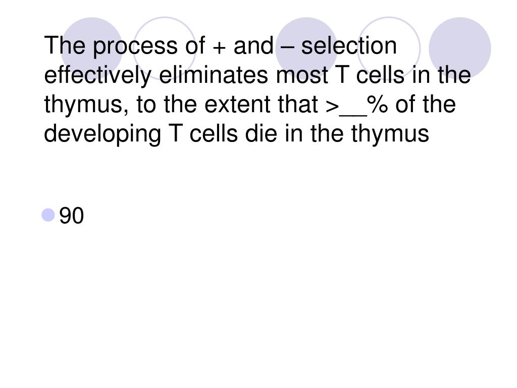 The process of + and – selection effectively eliminates most T cells in the thymus, to the extent that >__% of the developing T cells die in the thymus