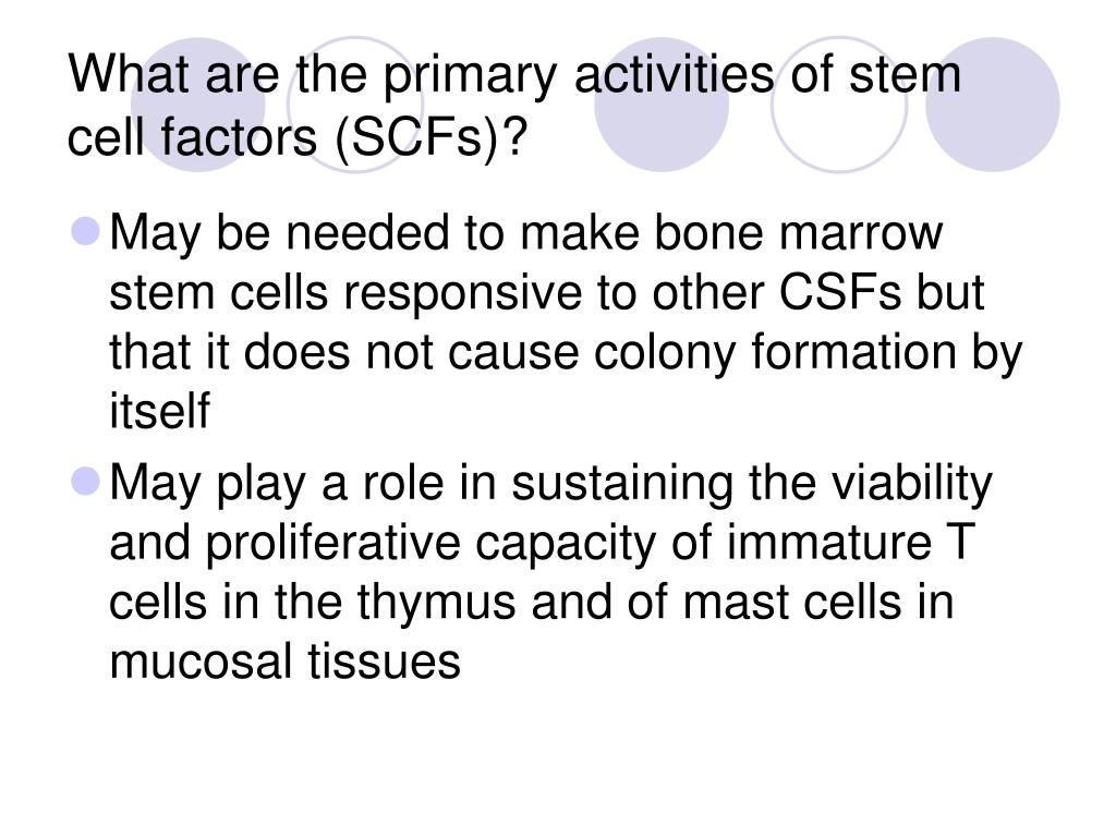 What are the primary activities of stem cell factors (SCFs)?
