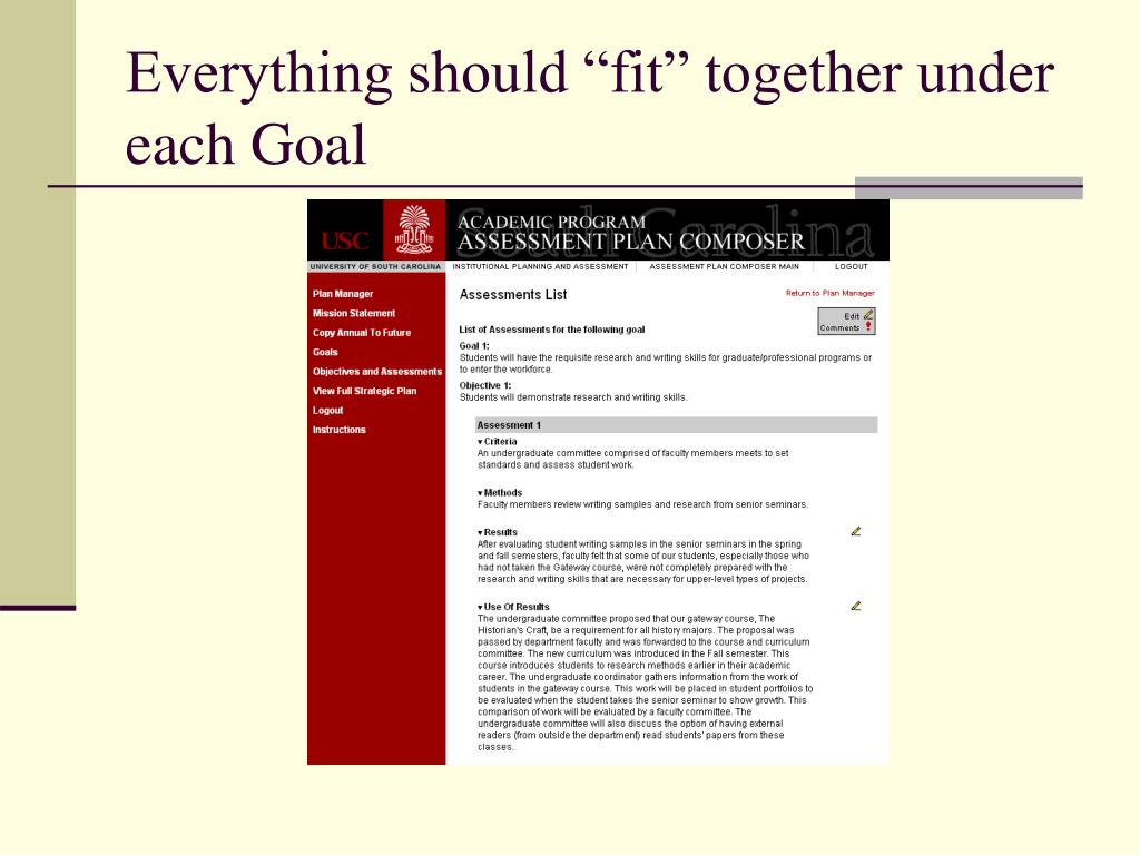 "Everything should ""fit"" together under each Goal"