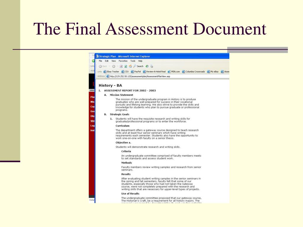 The Final Assessment Document