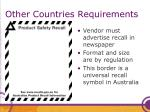 other countries requirements