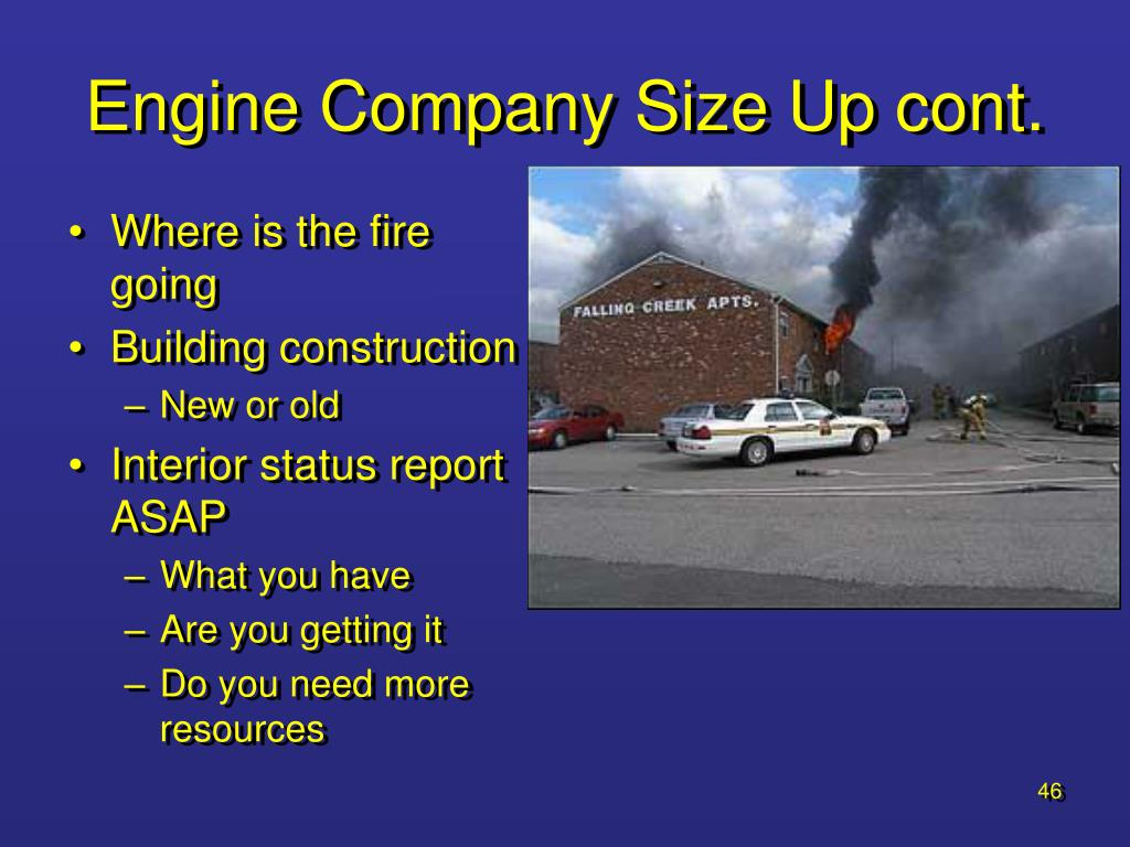 Engine Company Size Up cont.