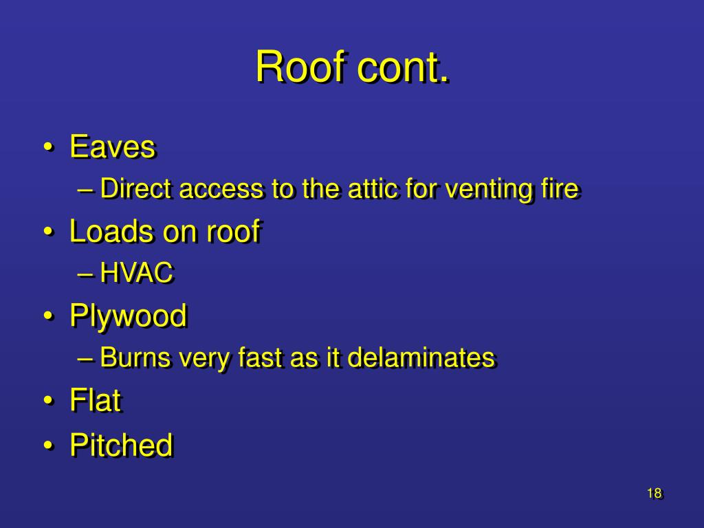 Roof cont.